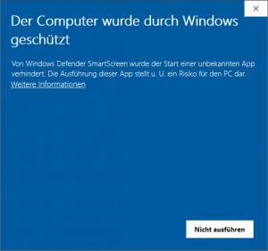 Windows Defender SmartScreen Der Computer wurde geschützt