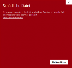 Windows Defender SmartScreen Schädliche Datei