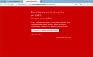 Windows Defender SmartScreen unsichere Webseite