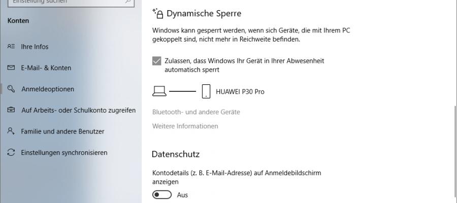 Windows dynamische Bildschirmsperre einrichten