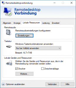 default rdp disable ressources