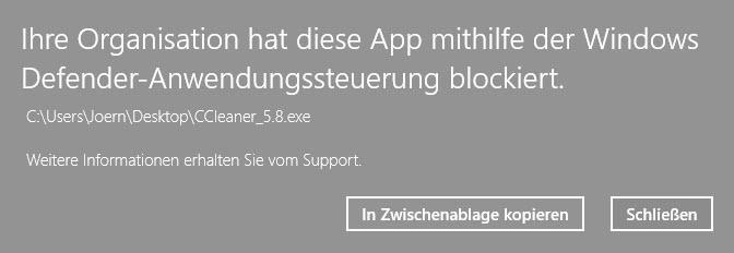 Ihre Organisation hat diese App mithilfe der Windows Defender Anwendungssteuerung blockiert