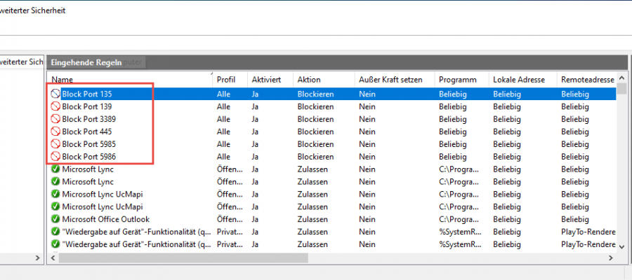 Block Firewall Ports Logon Script