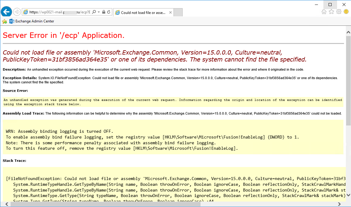 Could not load file or assembly Microsoft.Exchange.Common