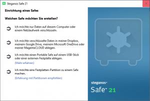 Steganos Safe einrichten