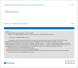 Exchange 2016 CU14 update services disabled