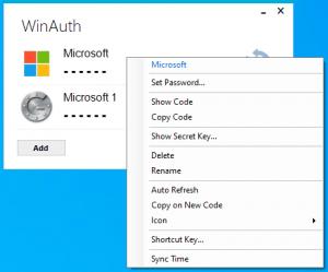 WinAuth 3.5 portable Microsoft Authenticator