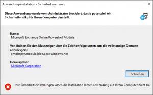 Ihr Administrator hat diese Anwendung blockiert, da sie möglicherweise ein Sicherheitsrisiko für Ihren Computer darstellt