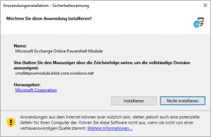 Sicherheitswarnung Microsoft Exchnage Online Powershell Module