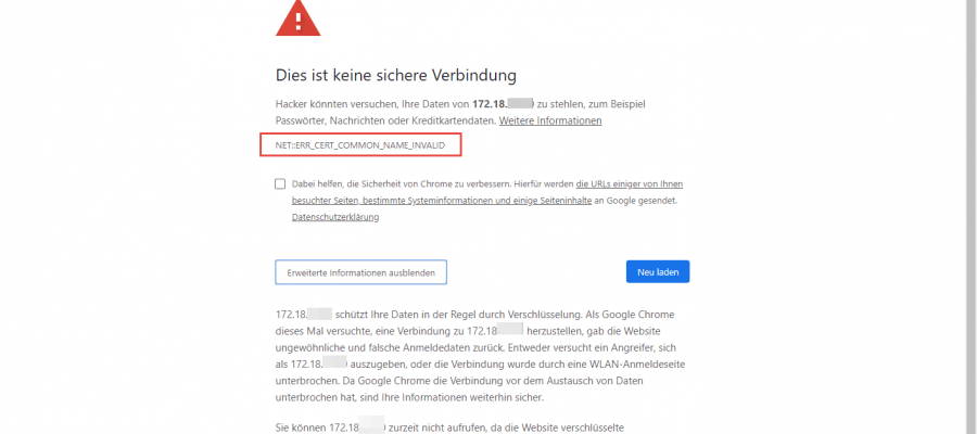 Deny certificate errors in browser