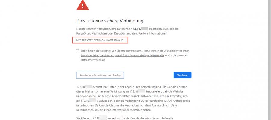 Zertifikatsfehler im Browser Zugriff verweigern