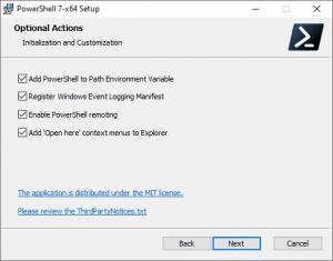 Microsoft Windows Powershell 7 Optional Actions
