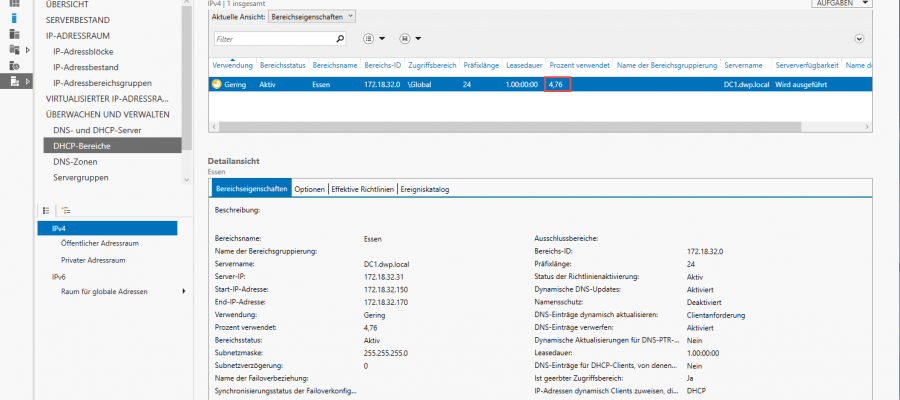 Windows Server 2019 IP-Adressverwaltungsserver