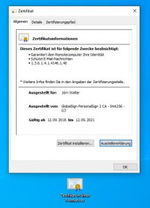 Zertifikat im binären Format konvertieren