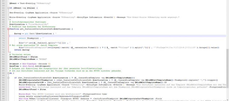 PSRemoting automatische Konfiguration mit Zertifikat