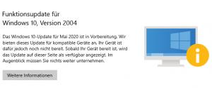 Windows 10 v2004 nicht verfügbar