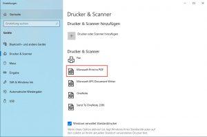 Microsoft PDF Printer verschwunden. Richtig installieren
