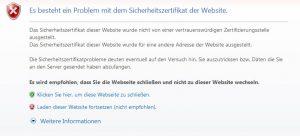 Es besteht ein Problem mit dem Sicherheitszertifikat der Website