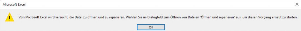 Microsoft Excel is trying to open the file and repair it.