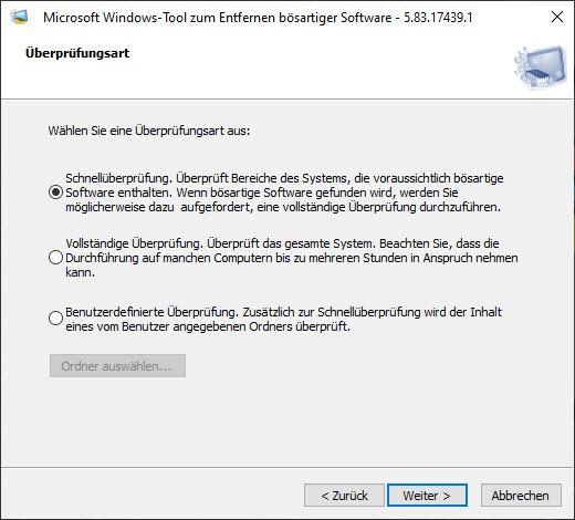 Windows-Tool zum Entfernen bösartiger Software 5.8.3