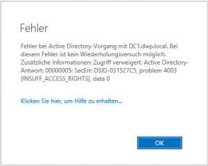 Problem 4003 INSUFF_ACCESS_RIGHTS SecErr DSID-031527C5