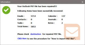 Your Outlook PST File has been repaired