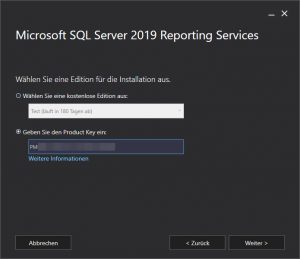 Activation Key SQL Reporting Server