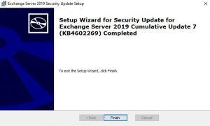 Exchange 2019 CU7 KB4602269 Completed