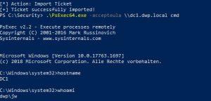 Kerberos Ticket von Domain Admin missbraucht