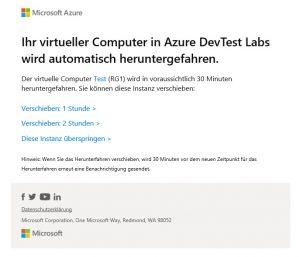 Ihr virtueller Computer in Azure DevTest Labs wird automatisch heruntergefahren