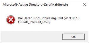 WIN32 13 ERROR_INVALID_DATA