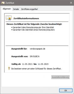 Zertifikat für Tomcat und Windows