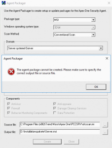 The Agent package cannot be created. Please make sure to specify the correct output file or source file.