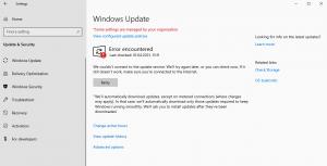 Windows Update Error encountered
