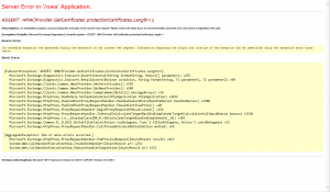 ASSERT HMACProvider.GetCertificates:protectionCertificates.Length<1