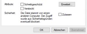 Datei nach Download blockiert