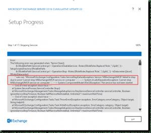 Exchange Setup Progress Error Stopping Services